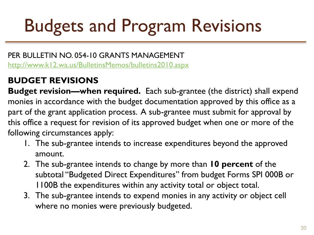 Budgets and Program Revisions