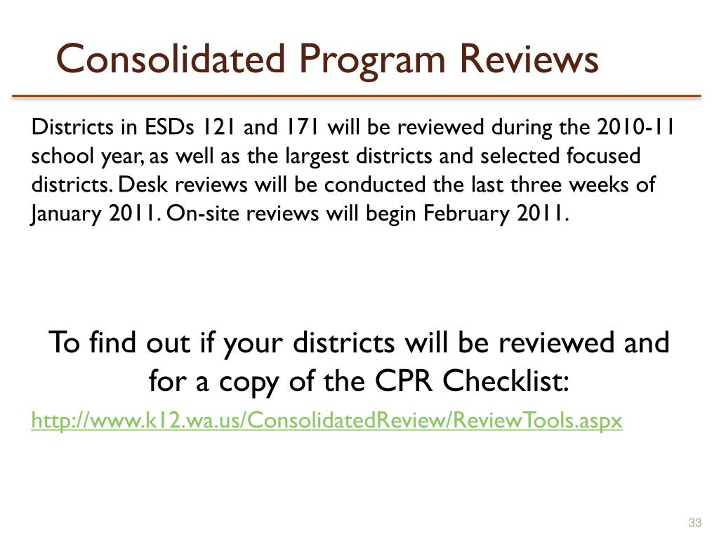Consolidated Program Reviews