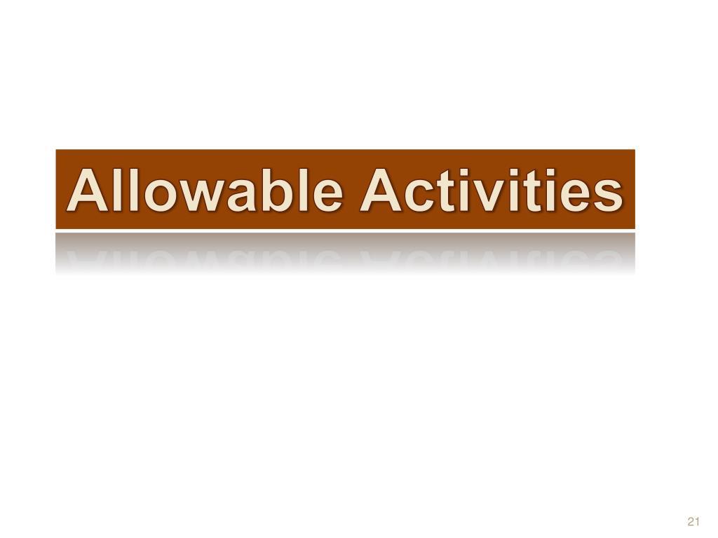 Allowable Activities