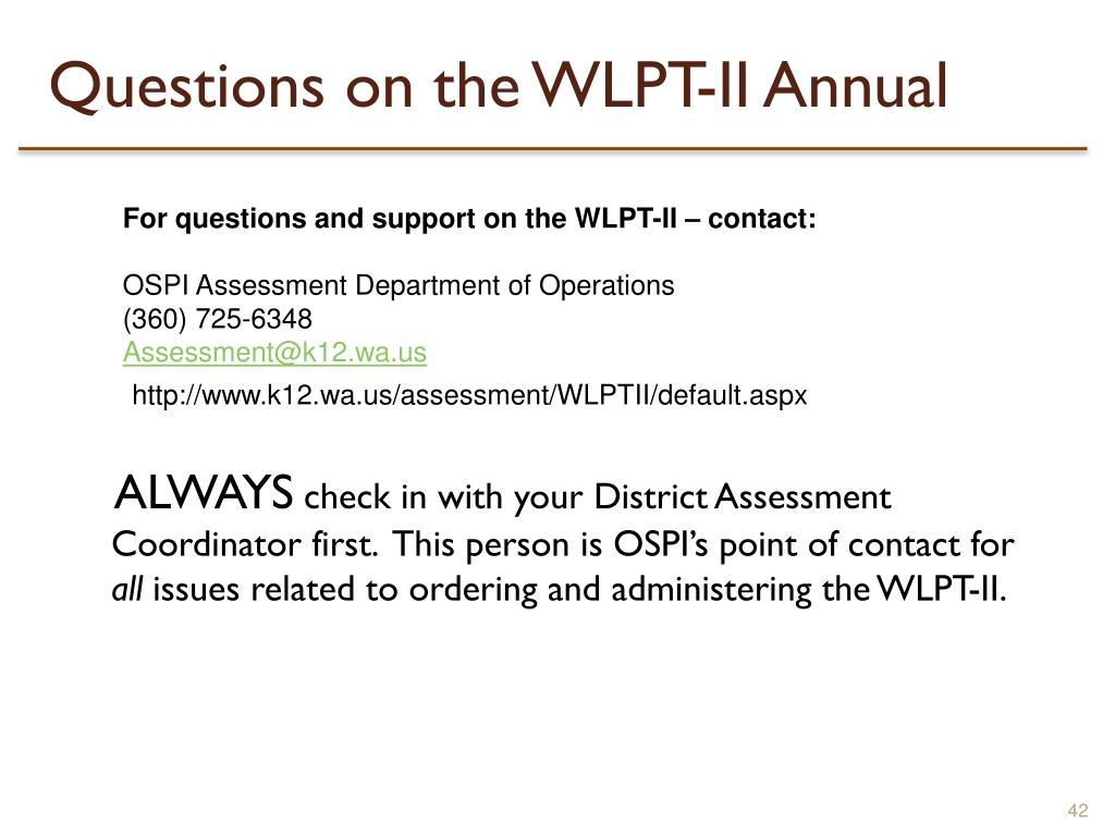Questions on the WLPT-II Annual