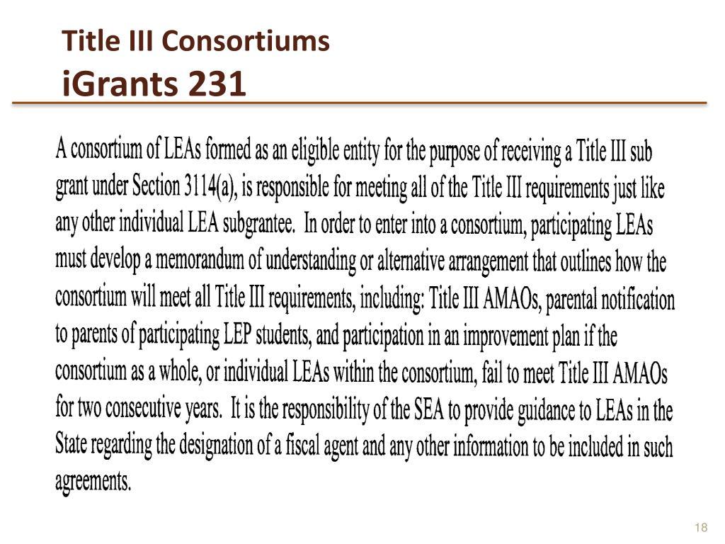 Title III Consortiums