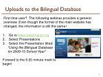 uploads to the bilingual database