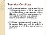 transition certificate