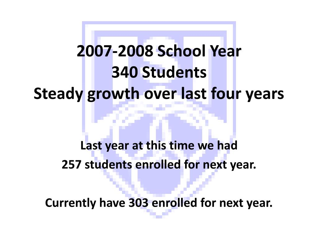 2007 2008 school year 340 students steady growth over last four years l.