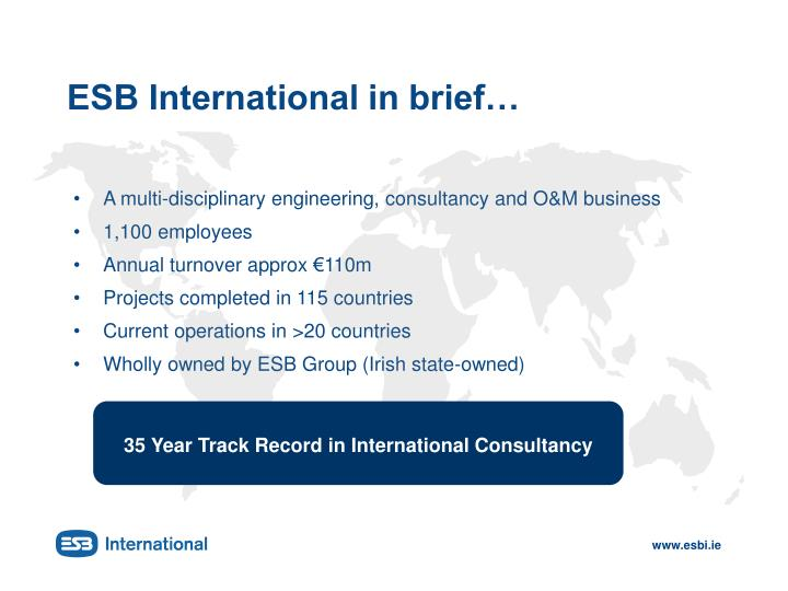 Esb international in brief