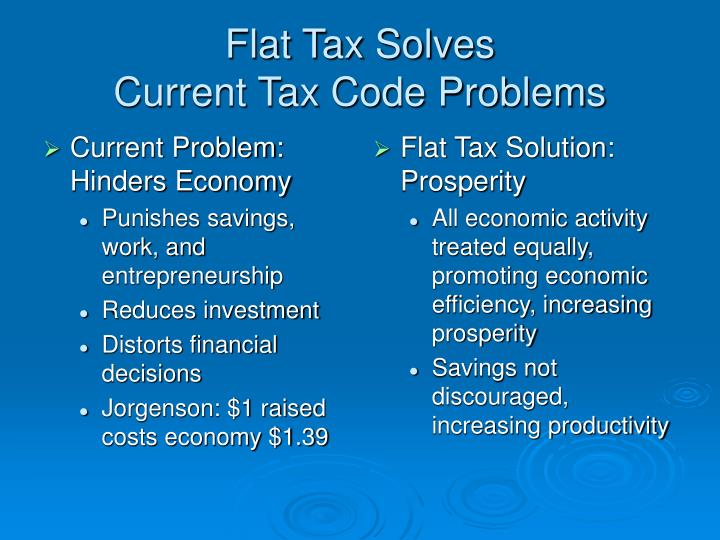 flat tax system A flat tax refers to a tax system where a single tax rate is applied to all levels of incomeannual incomeannual income is the total value of income earned during a fiscal year.