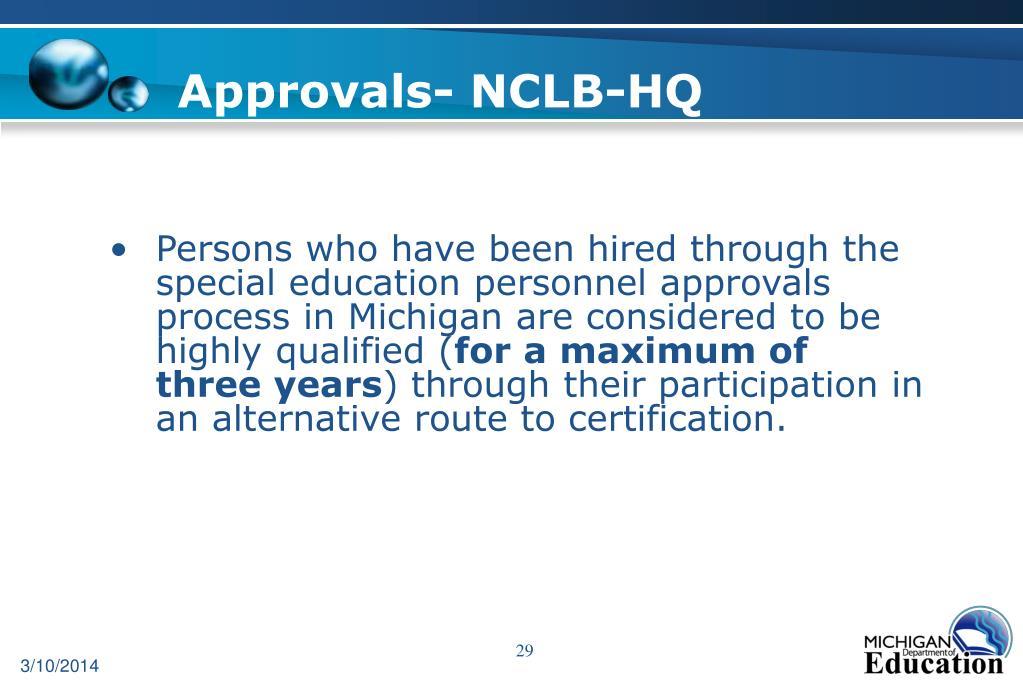Approvals- NCLB-HQ