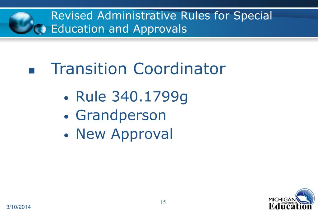 Revised Administrative Rules for Special Education and Approvals