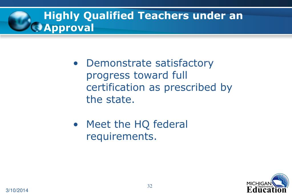 Highly Qualified Teachers under an Approval