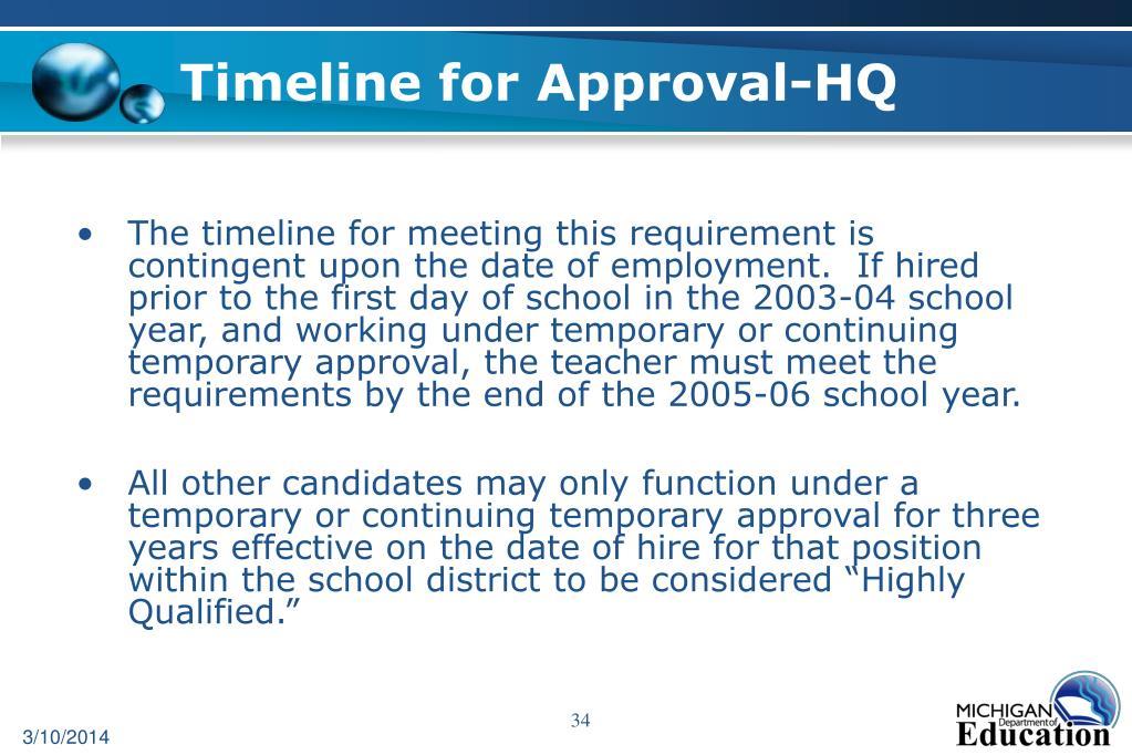 Timeline for Approval-HQ
