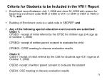 criteria for students to be included in the vr11 report