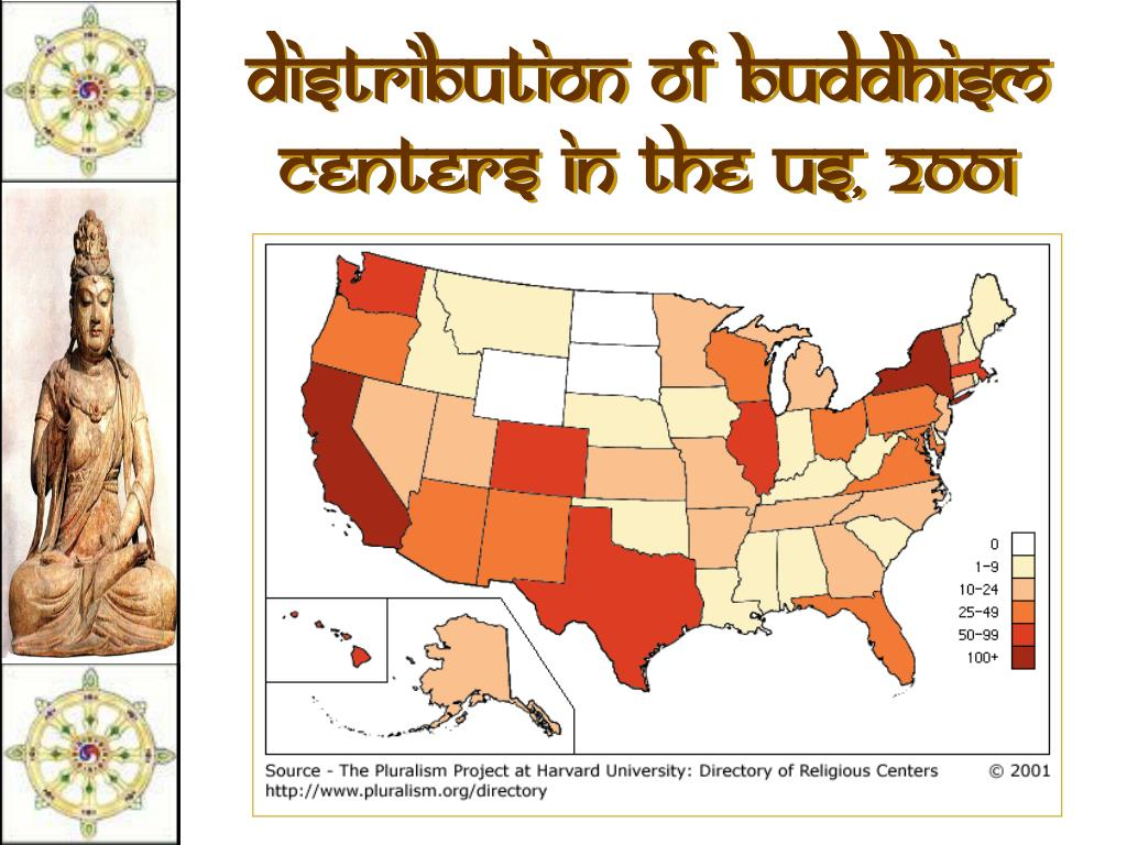 Distribution of Buddhism Centers in the US, 2001