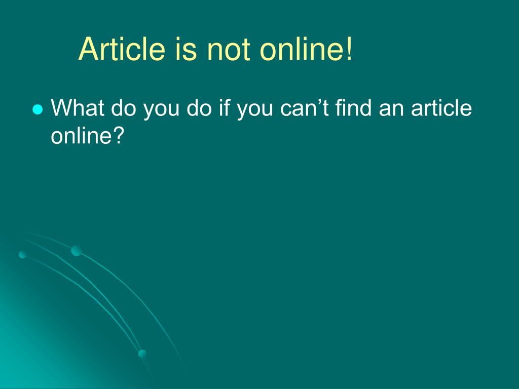 Article is not online!