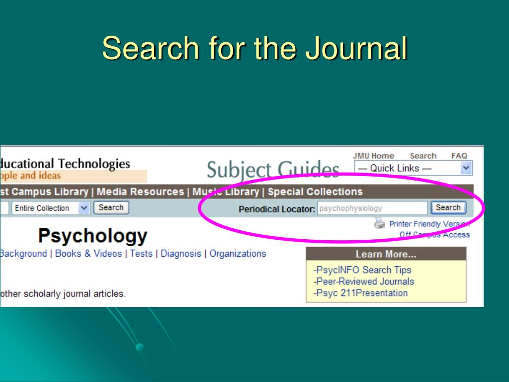 Search for the Journal