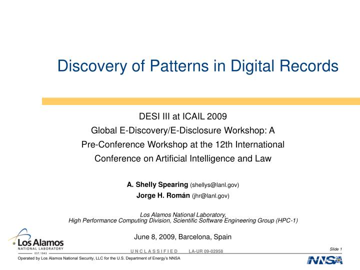 discovery of patterns in digital records n.