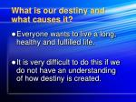 what is our destiny and what causes it