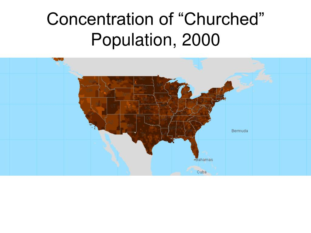 "Concentration of ""Churched"" Population, 2000"