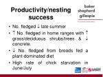 productivity nesting success
