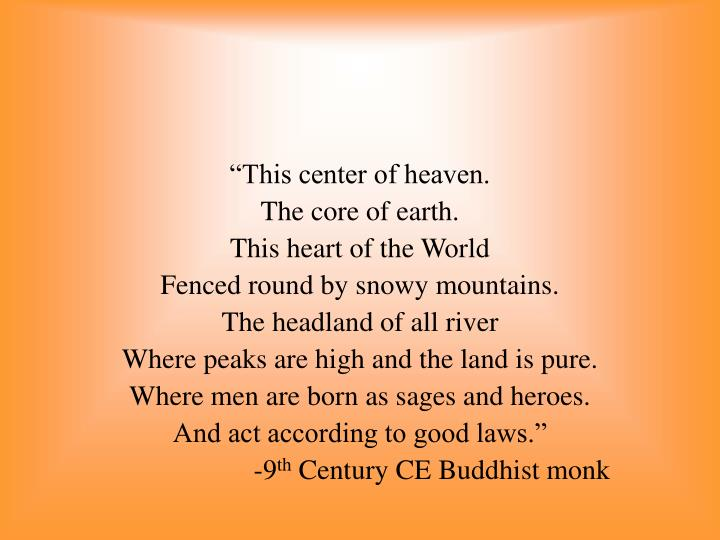 """""""This center of heaven."""