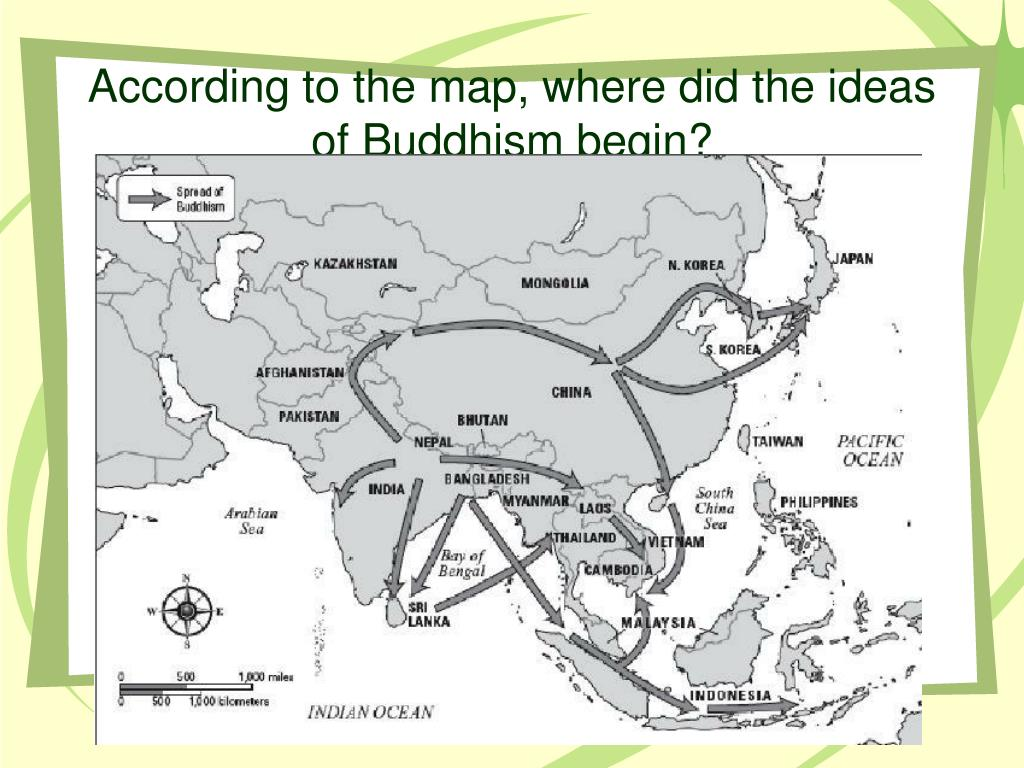 According to the map, where did the ideas of Buddhism begin?