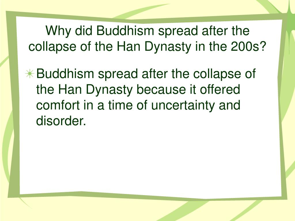 Why did Buddhism spread after the collapse of the Han Dynasty in the 200s?