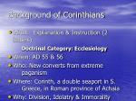 background of corinthians