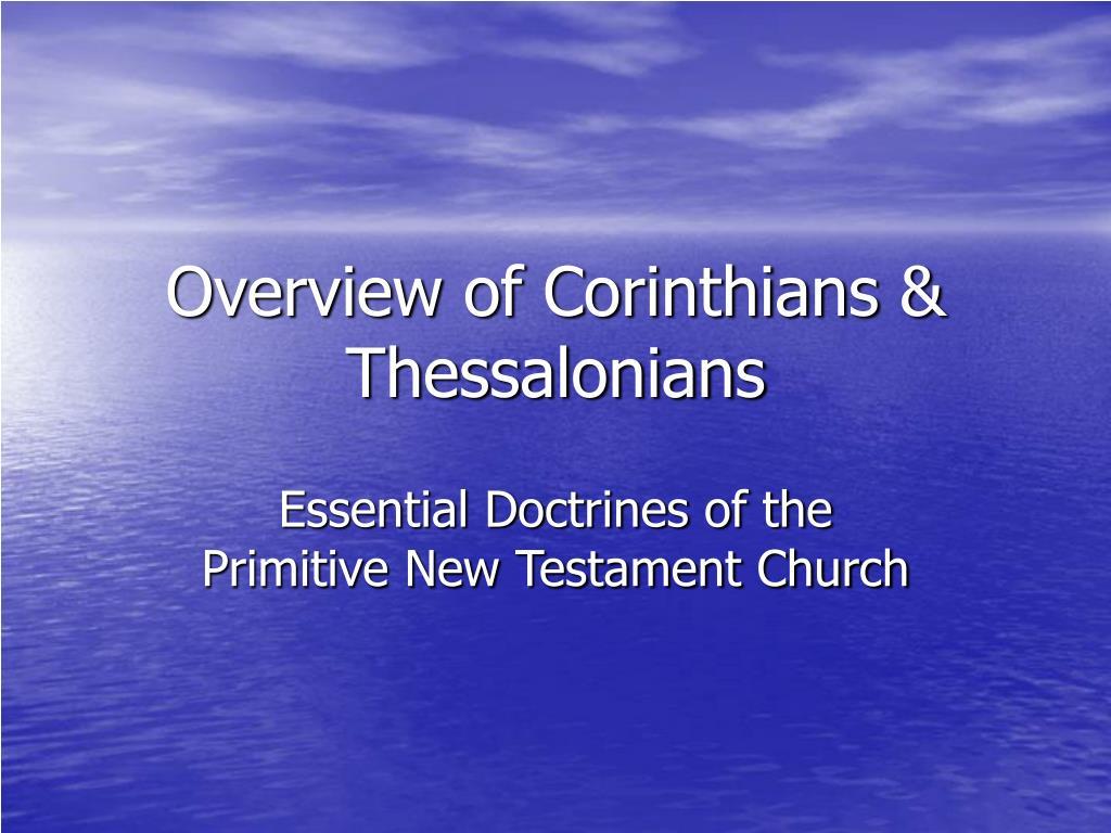 overview of corinthians thessalonians l.