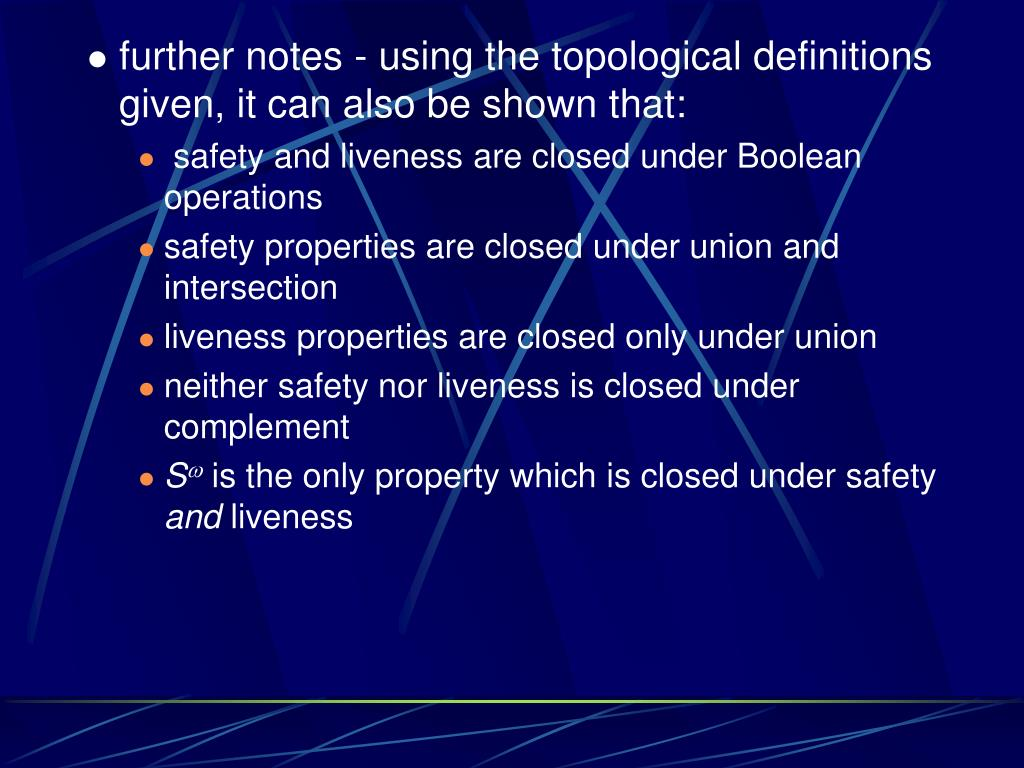 further notes - using the topological definitions given, it can also be shown that: