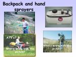 backpack and hand sprayers