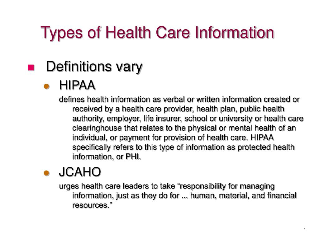 Types of Health Care Information
