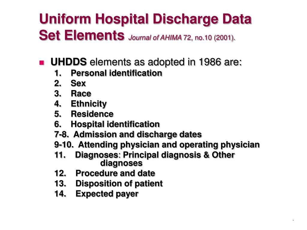 Uniform Hospital Discharge Data Set Elements