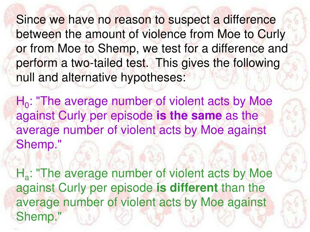 Since we have no reason to suspect a difference between the amount of violence from Moe to Curly or from Moe to Shemp, we test for a difference and perform a two-tailed test.  This gives the following null and alternative hypotheses: