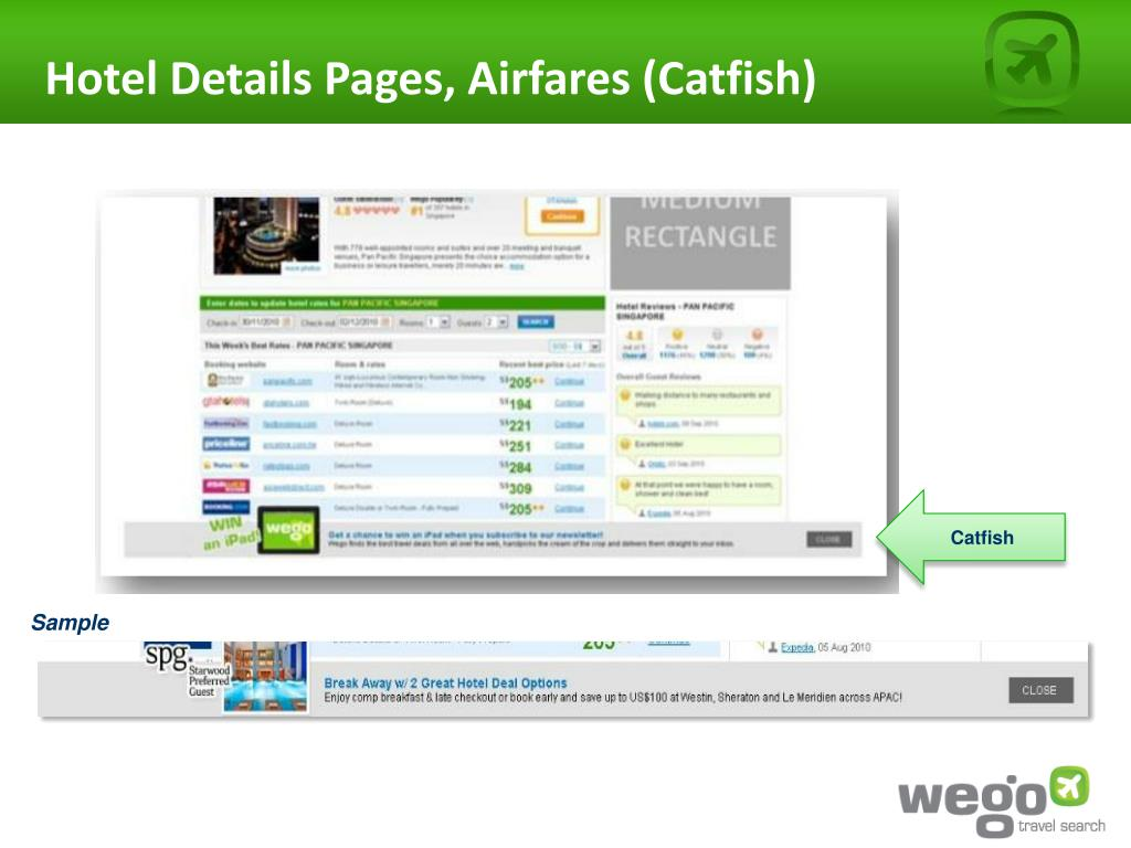 Hotel Details Pages, Airfares (Catfish)