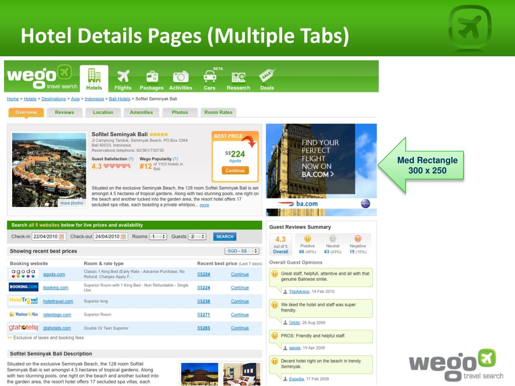 Hotel Details Pages (Multiple Tabs)