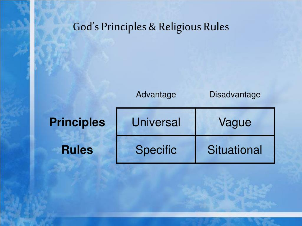 God's Principles & Religious Rules