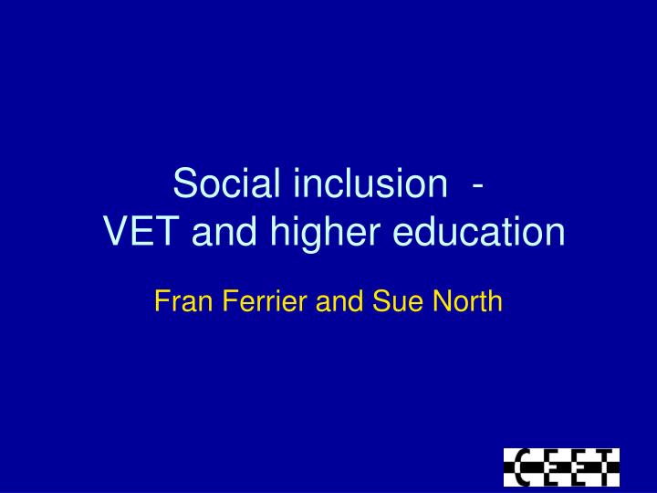 social inclusion vet and higher education n.