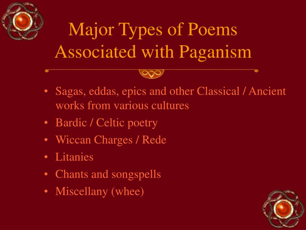 Major Types of Poems Associated with Paganism