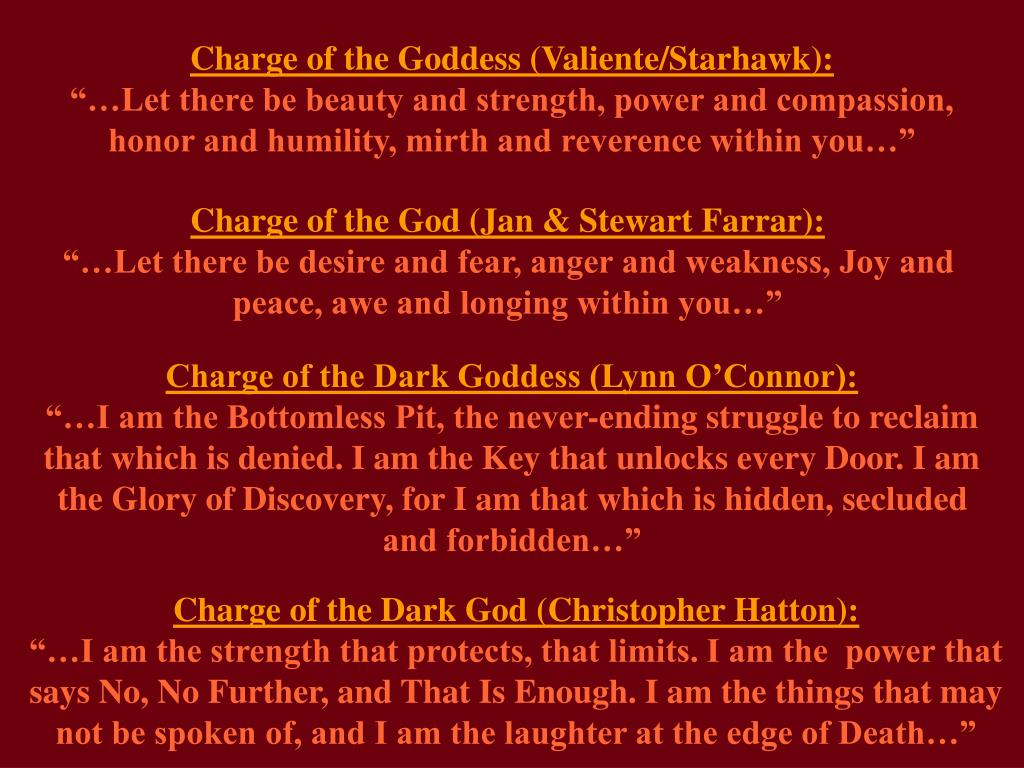 Charge of the Goddess (Valiente/Starhawk):