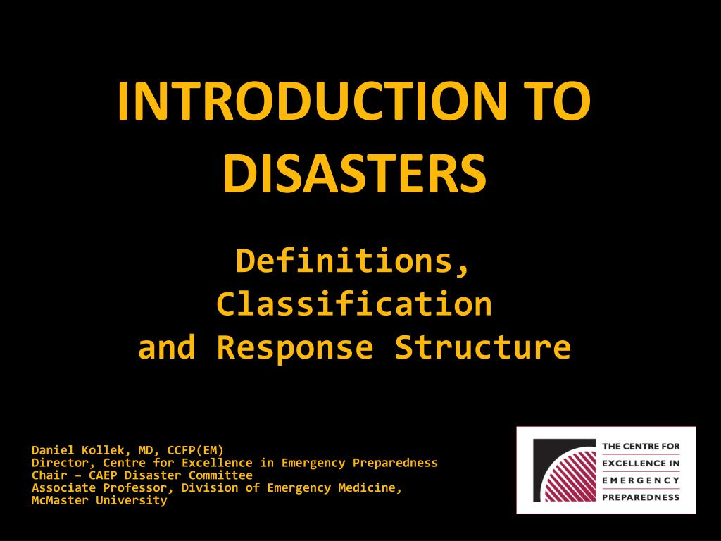 introduction to disasters l.