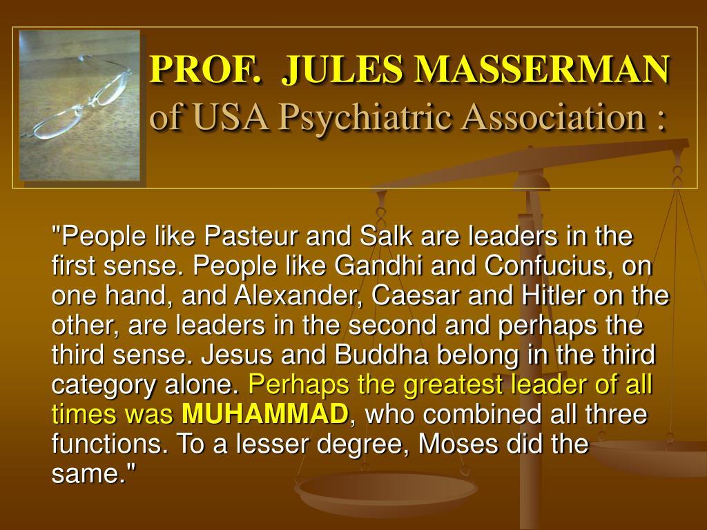 PROF.  JULES MASSERMAN