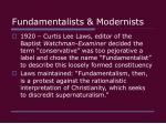 fundamentalists modernists19