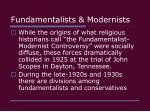 fundamentalists modernists29