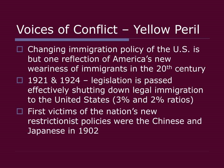 Voices of conflict yellow peril