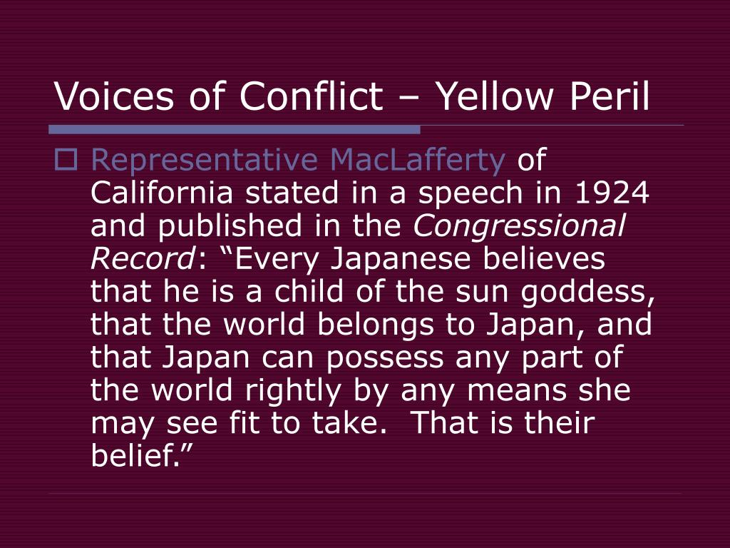 Voices of Conflict – Yellow Peril