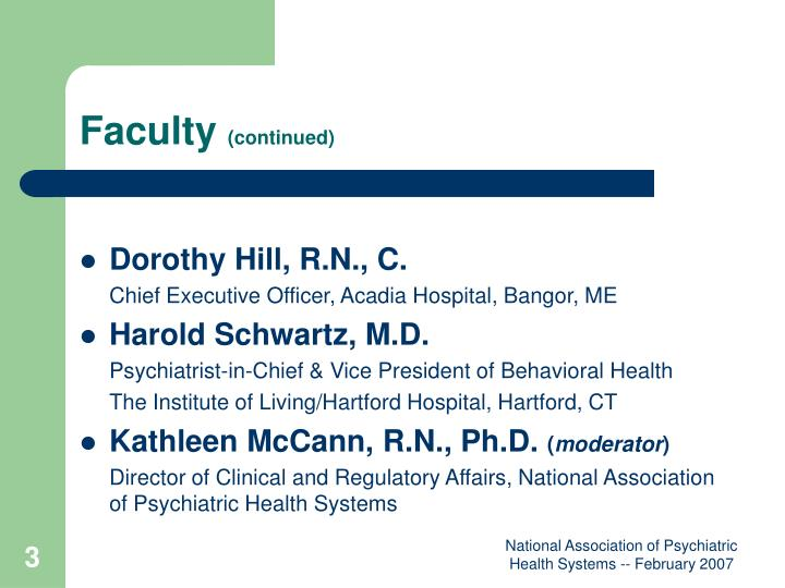 Faculty continued
