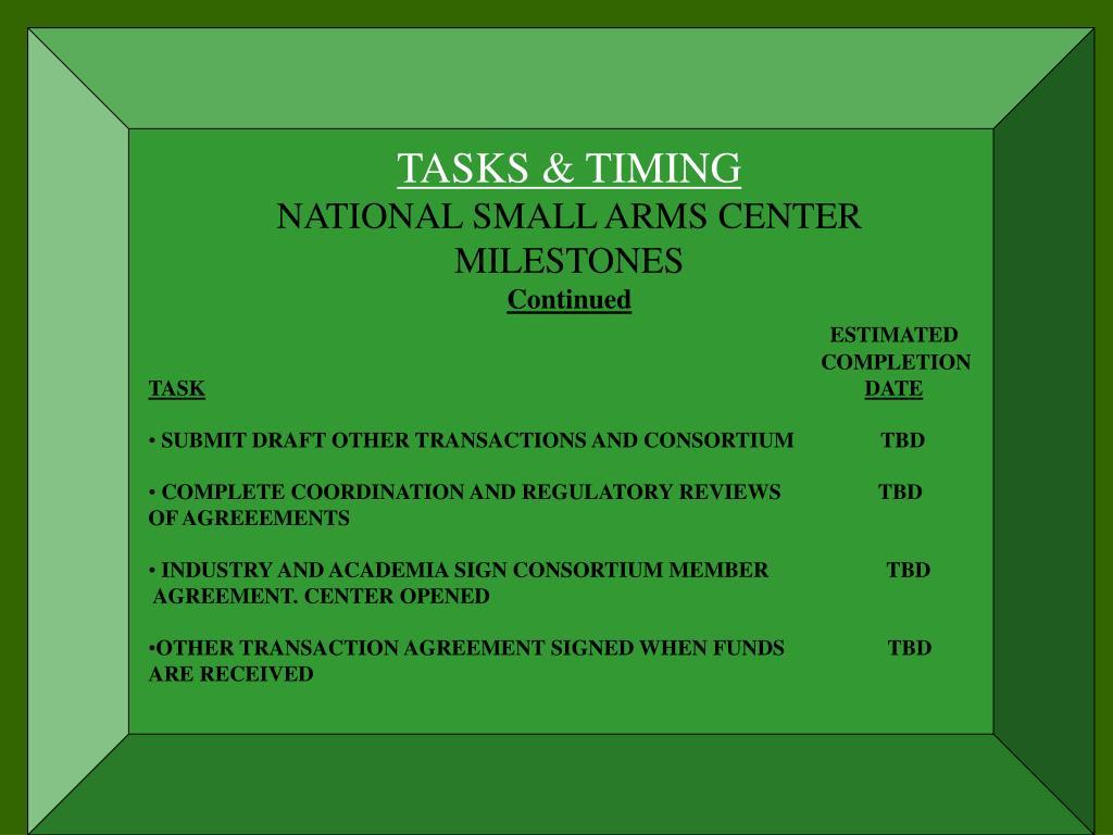 TASKS & TIMING