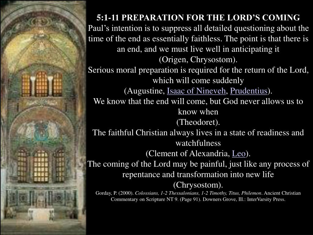 5:1-11 PREPARATION FOR THE LORD'S COMING