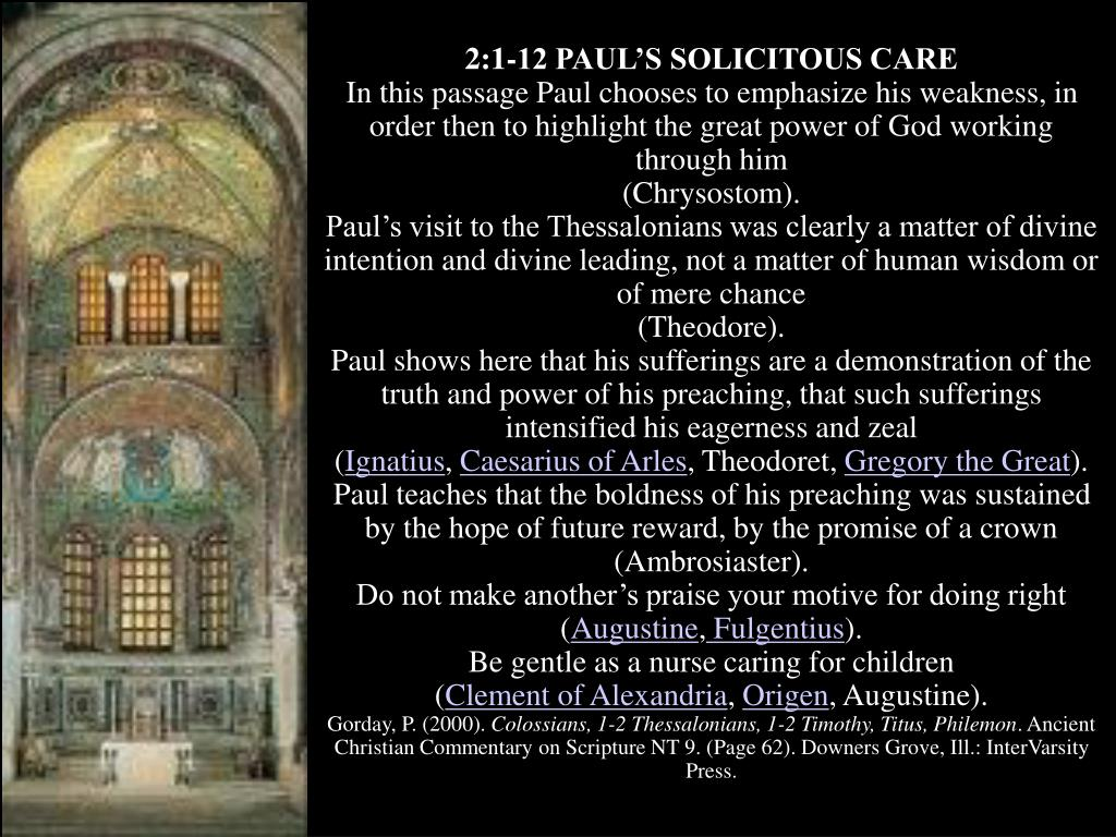 2:1-12 PAUL'S SOLICITOUS CARE
