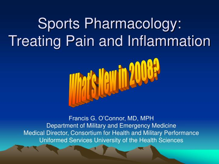 Sports pharmacology treating pain and inflammation