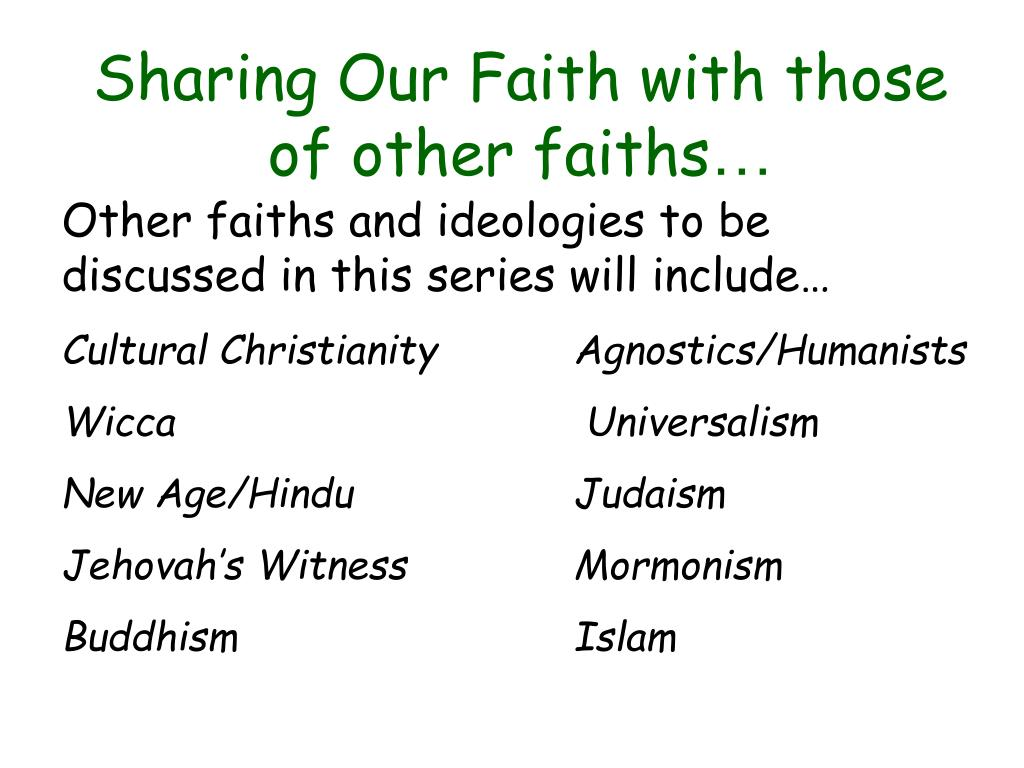 sharing our faith with those of other faiths l.